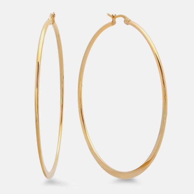 18k Gold Plated 60mm Classic Flat Hoop Earrings
