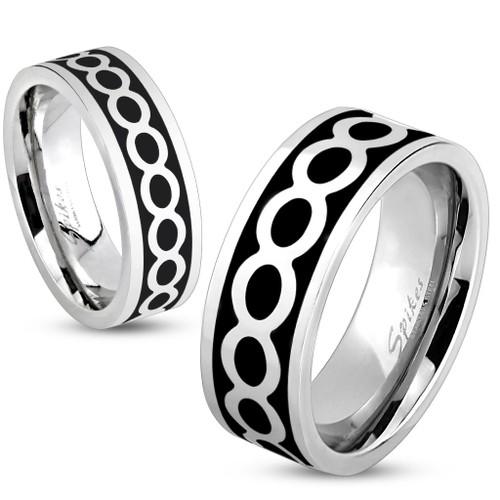 Shiny Infinite on Black Center Stainless Steel Ring