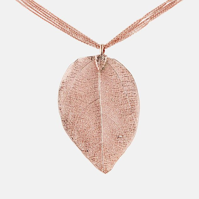 24k Rose Gold Overlay Leaf Pendant
