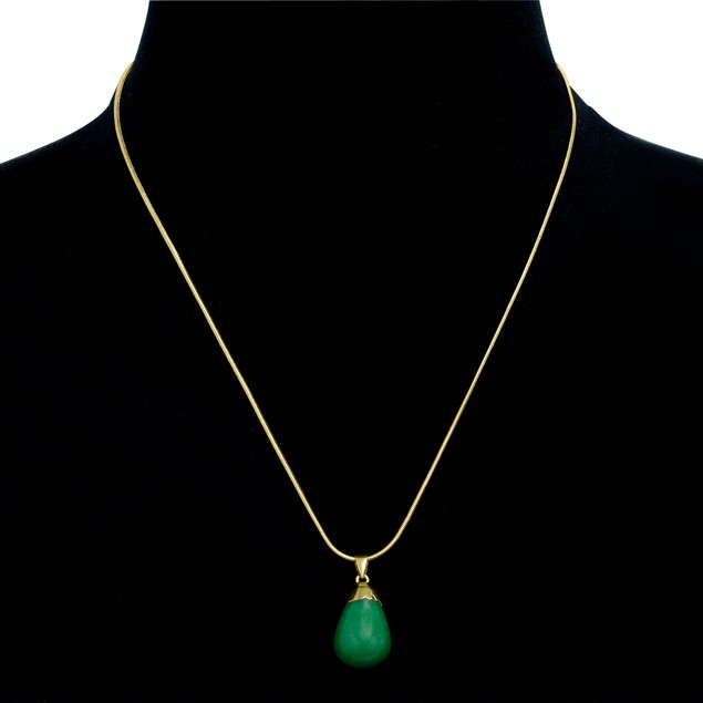 10ct Pear-Cut Jade Necklace, 18 Inches