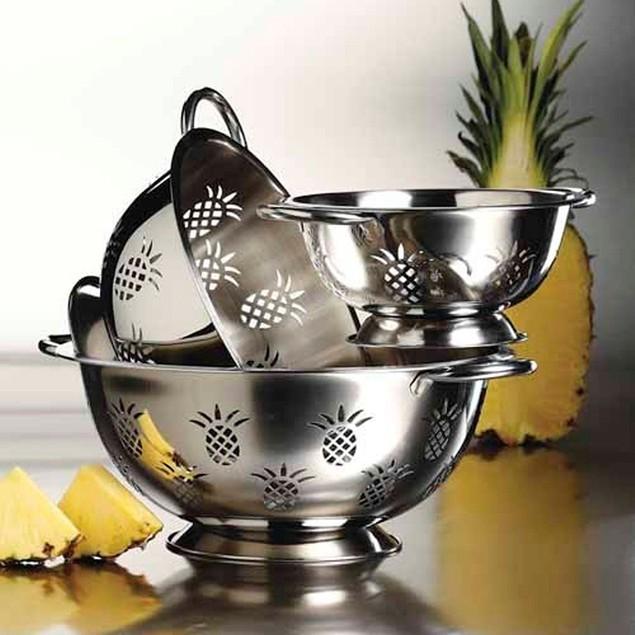 3-Pc Stainless Steel Pineapple Colander Set