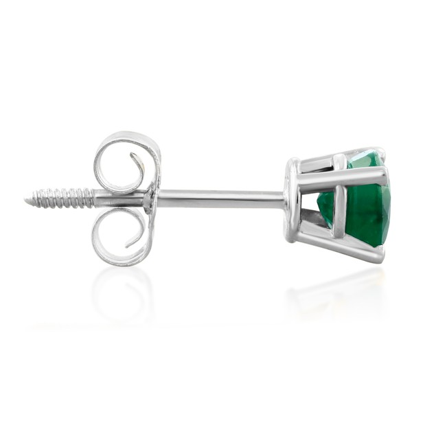 .60ct Emerald Stud Earrings in 14k White Gold