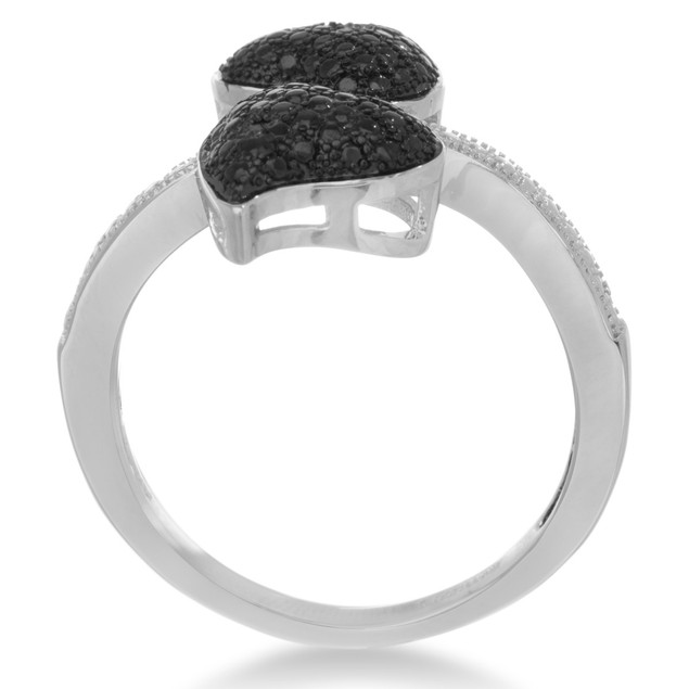 Black And White Diamond Double Heart Cocktail Ring