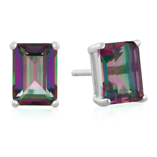 2 1/2ct Mystic Topaz Earrings In Sterling Silver