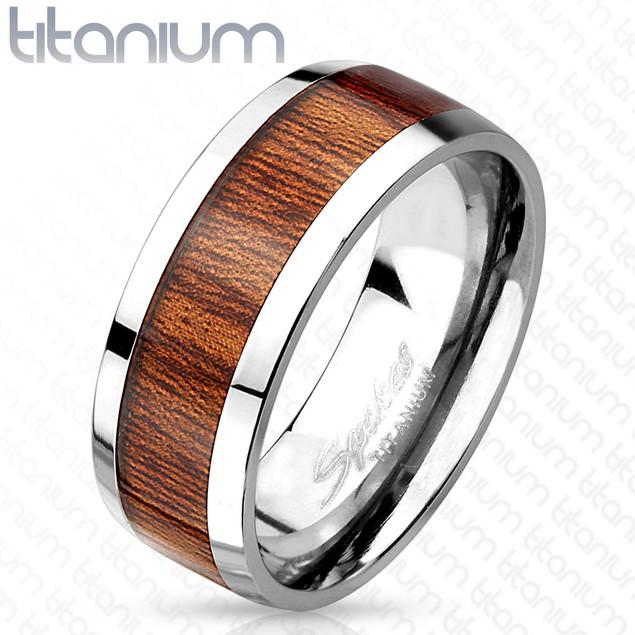 Wood Print Inlayed Titanium Ring