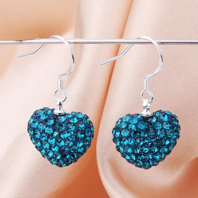 Heart Shaped Solid Austrian Stone Drop Earrings - Dark Sapphire