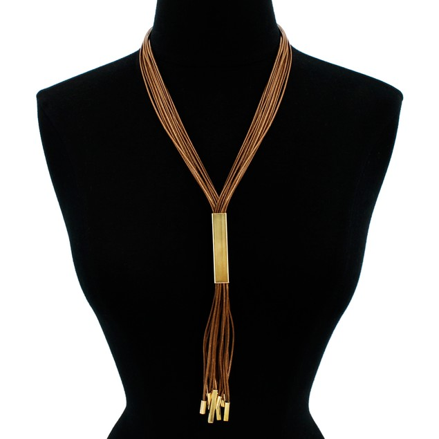 Brown Vegan Leather Gold Plated Sweater Necklace