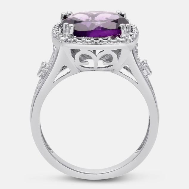 5ct Cushion Cut Halo Style Amethyst Ring