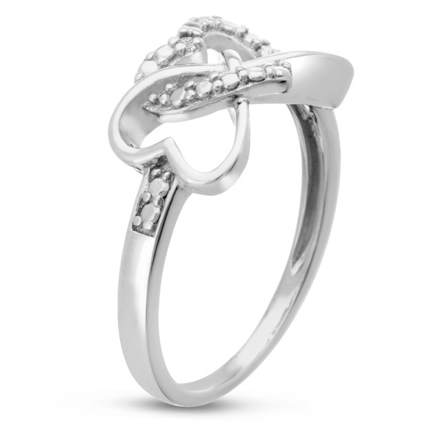 Sterling Silver Triple Heart Diamond Infinity Ring