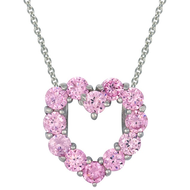 Sterling Silver Pink Simulated Diamond Heart Pendant