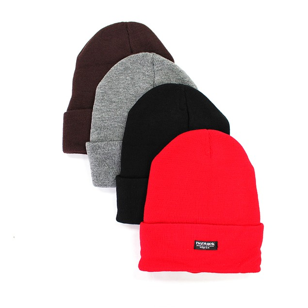 4-Pack Black Unisex Thermal Insulated Beanies
