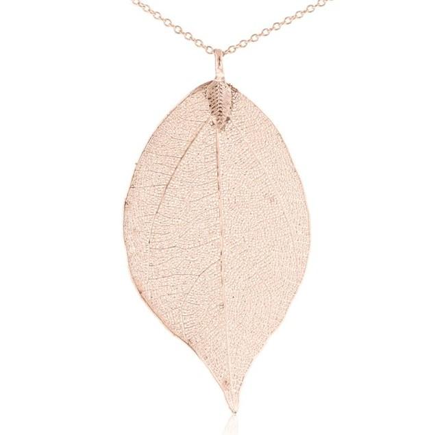24k Rose Gold Overlay Leaf Pendant
