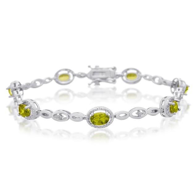 Peridot and Halo Diamond Bracelet
