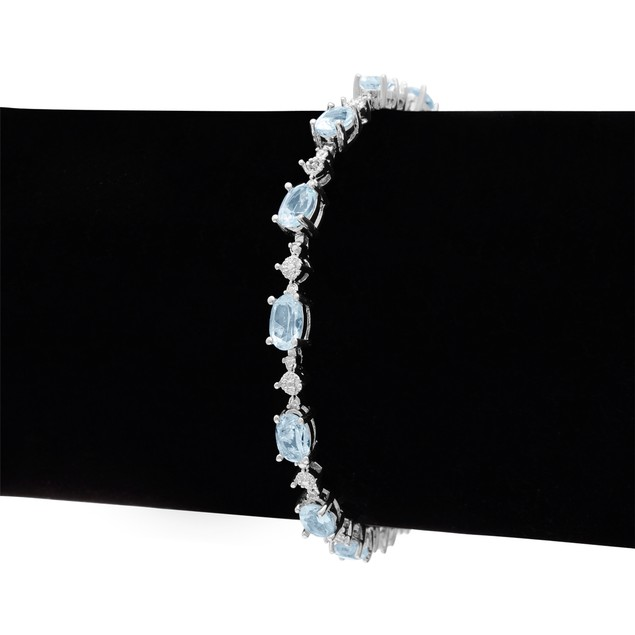 Blue Topaz and Diamond Bracelet 7.51cttw