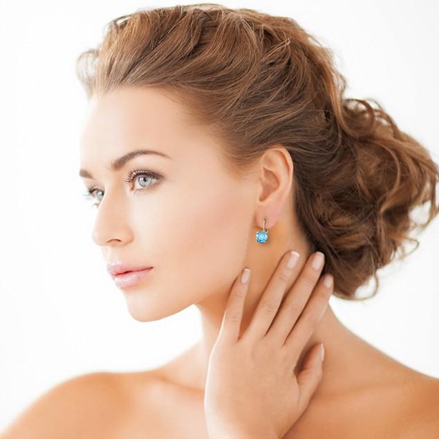 Leverback 5ct Blue Topaz Earrings in Sterling Silver