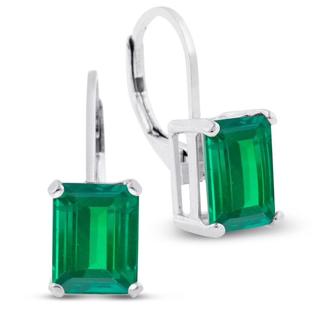 4 1/2 Carat Emerald Shape Emerald Leverback Earrings