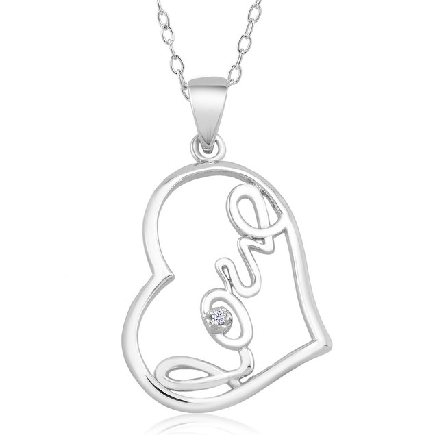 .10 Ct Diamond Accent Heart Necklace - Side Love