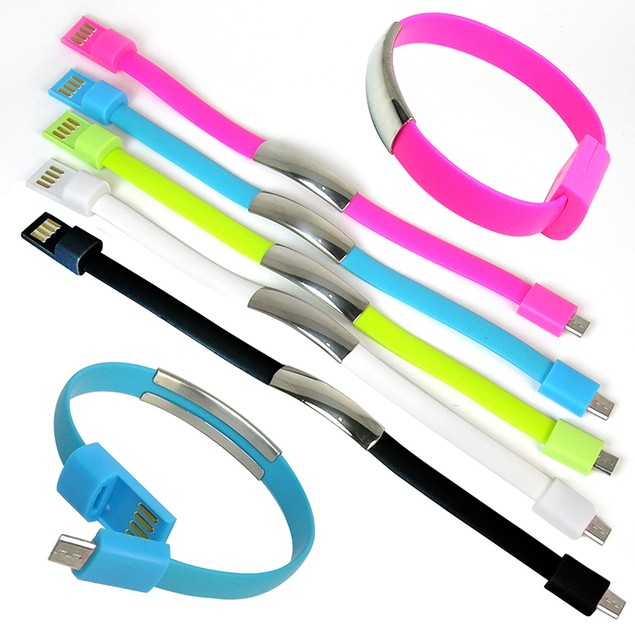 3-Pack:  On the Go Bracelet Cable for Micro USB Devices