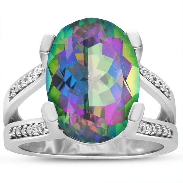 Mystic Topaz and Diamond Ring
