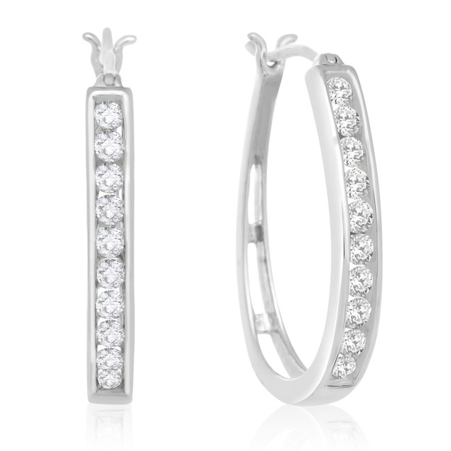 Diamond Hoop Earrings 1cttw