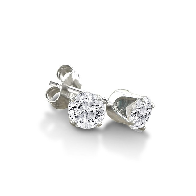 Certified 1/3ct Natural Genuine Diamond Stud Earrings In 10 Karat White Gold