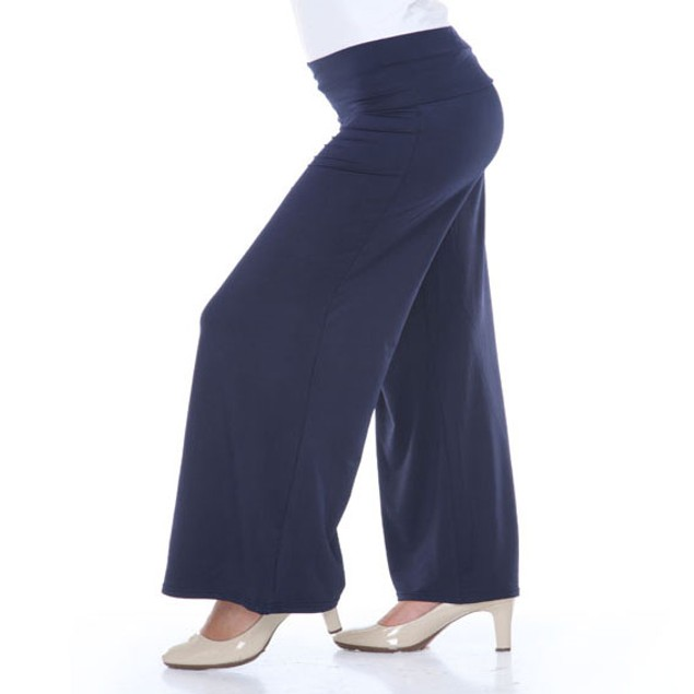 White Mark Navy Plus Size Palazzo Pants