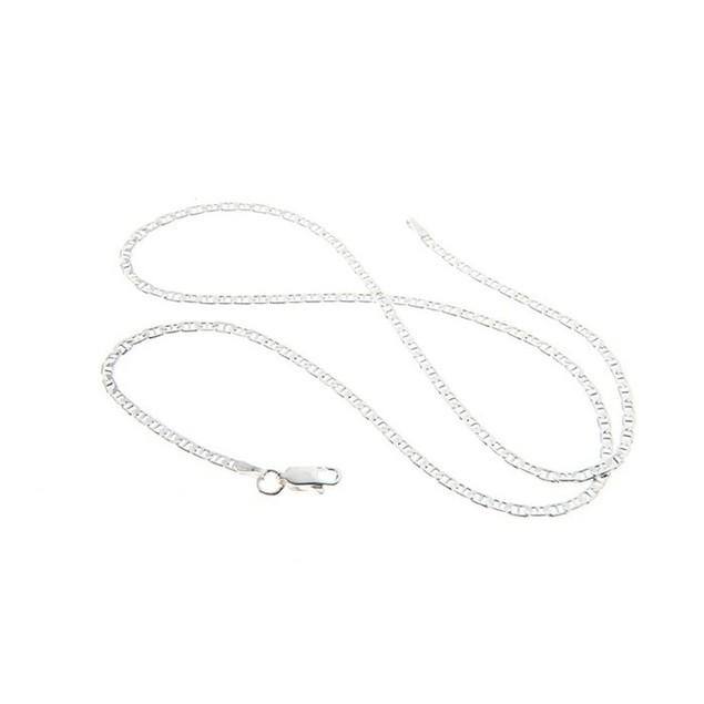 "Sterling Silver Italian Flat Marina Chain, 16""-30"""