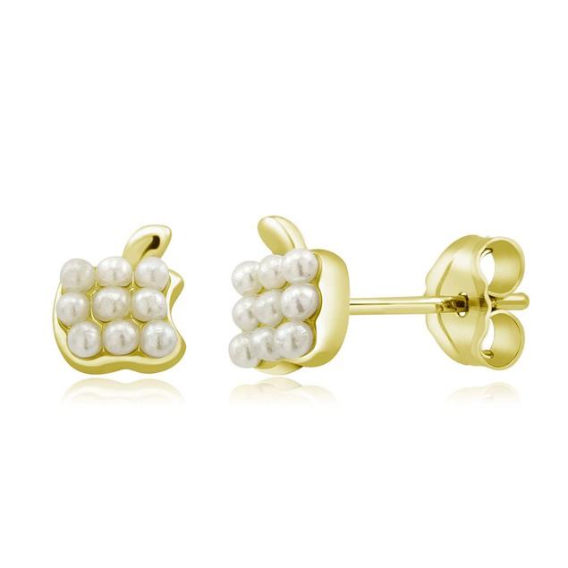 Sterling Silver Freshwater Pearl Earrings - Yellow Apple