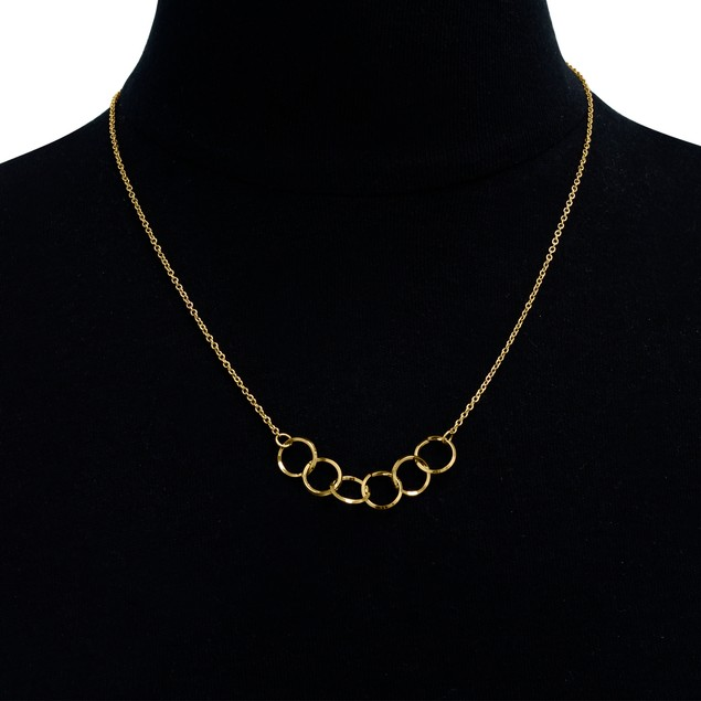 Yellow Gold 5 Ring Necklace