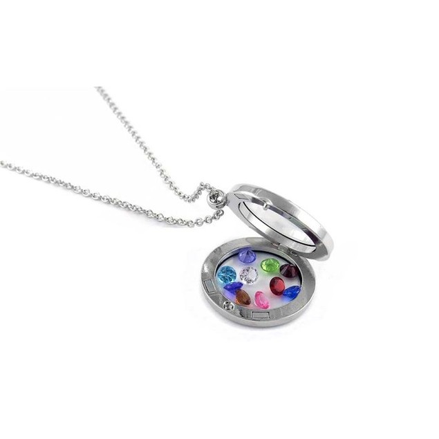 White Gold Plated Round Locket With Crystals