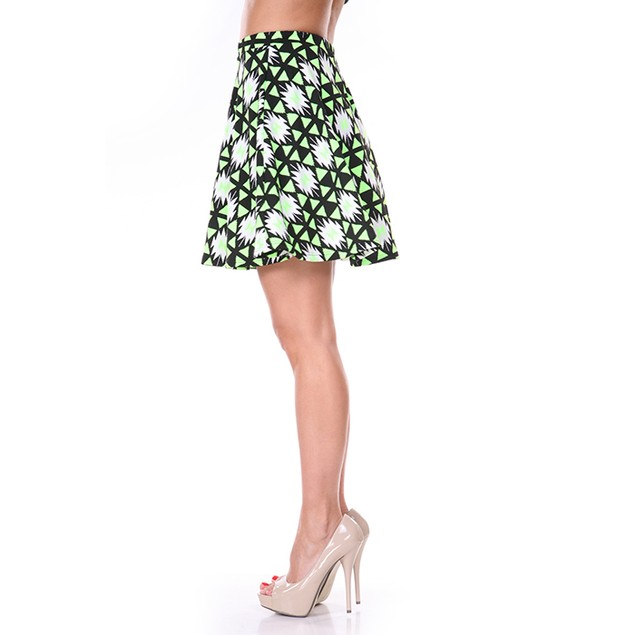 Neon Green & Black Diamond Print Skater Skirt