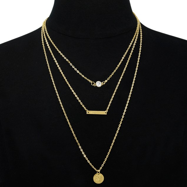 Gold Tone Triple Layer Pendant Necklace