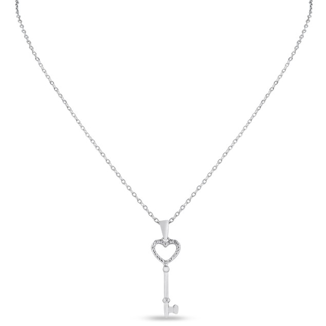 Heart Shaped Diamond Key Pendant
