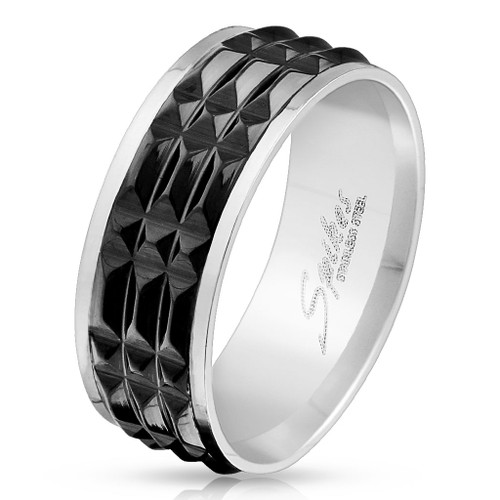 Spiked Black IP Center Stainless Steel Ring