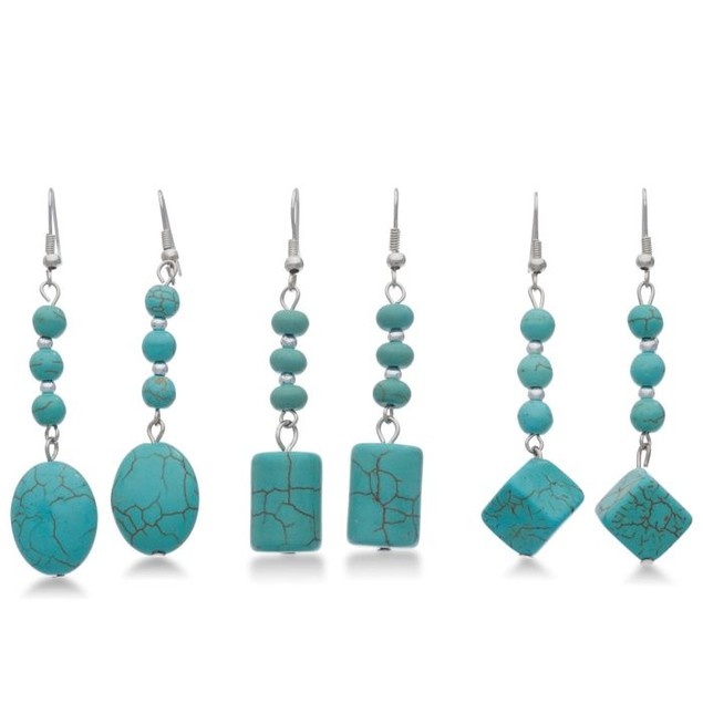 Set of 3 Trendy Turquoise Dangle Earrings