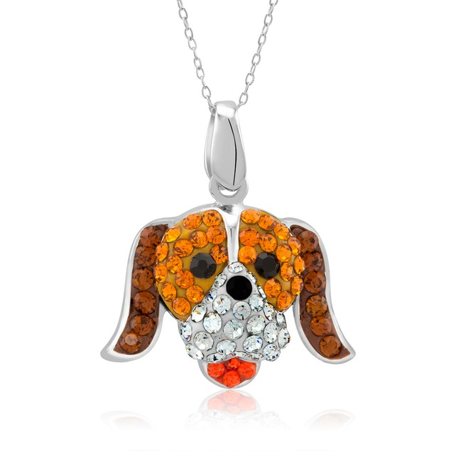 Sterling Silver Crystal Golden Retriever Necklace