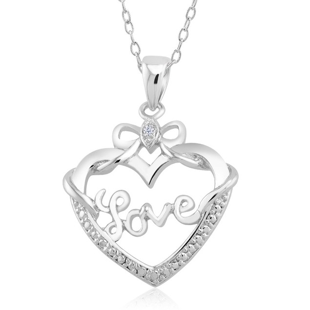 .10 Ct Diamond Accent Heart Necklace - Bow Heart