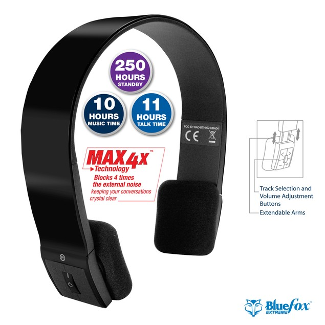 Bluefox Extreme Over the Head Stereo Bluetooth Headset w/ Max 4X Technology