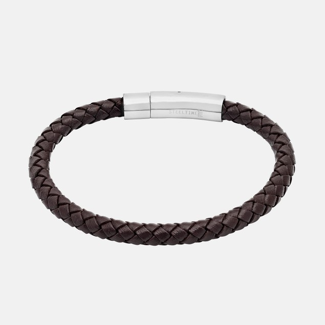 Genuine Braided Leather Bracelet - Brown