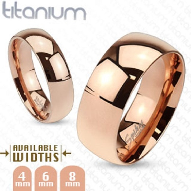 Mirrored Polished Titanium Plain Wedding Band
